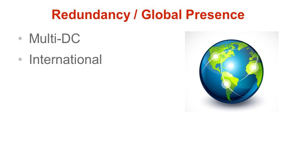 Redundancy / Global Presence Multi-DC International