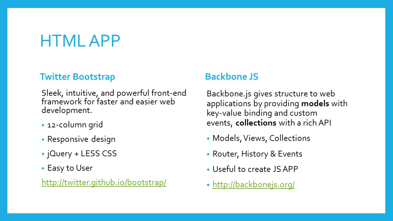 HTML APP Twitter Bootstrap Sleek, intuitive, and powerful front-end framework for faster and easier web development.