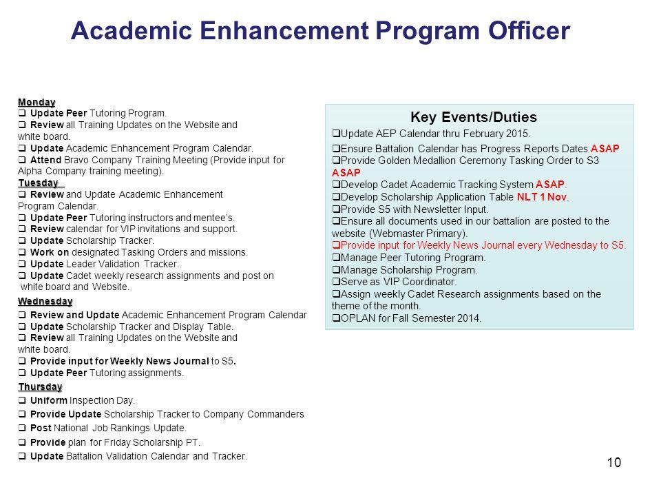 Academic Enhancement Program Officer Key Events/Duties  Update AEP Calendar thru February 2015.