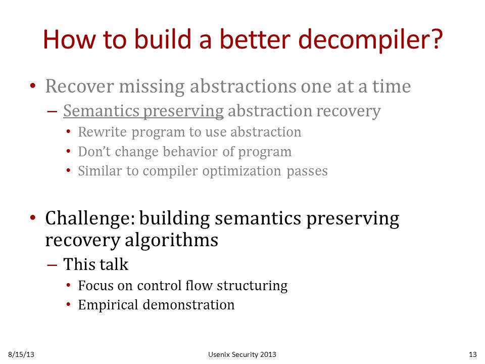 How to build a better decompiler.
