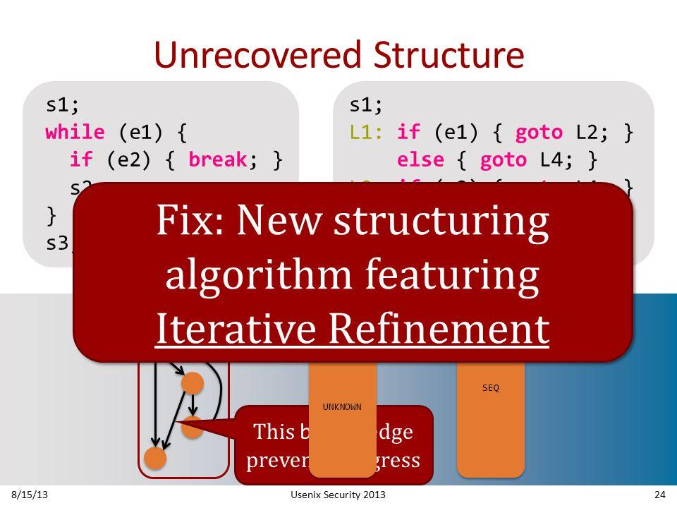Unrecovered Structure 8/15/13Usenix Security 201324 This break edge prevents progress UNKNOWN SEQ s1; while (e1) { if (e2) { break; } s2; } s3; s1; L1