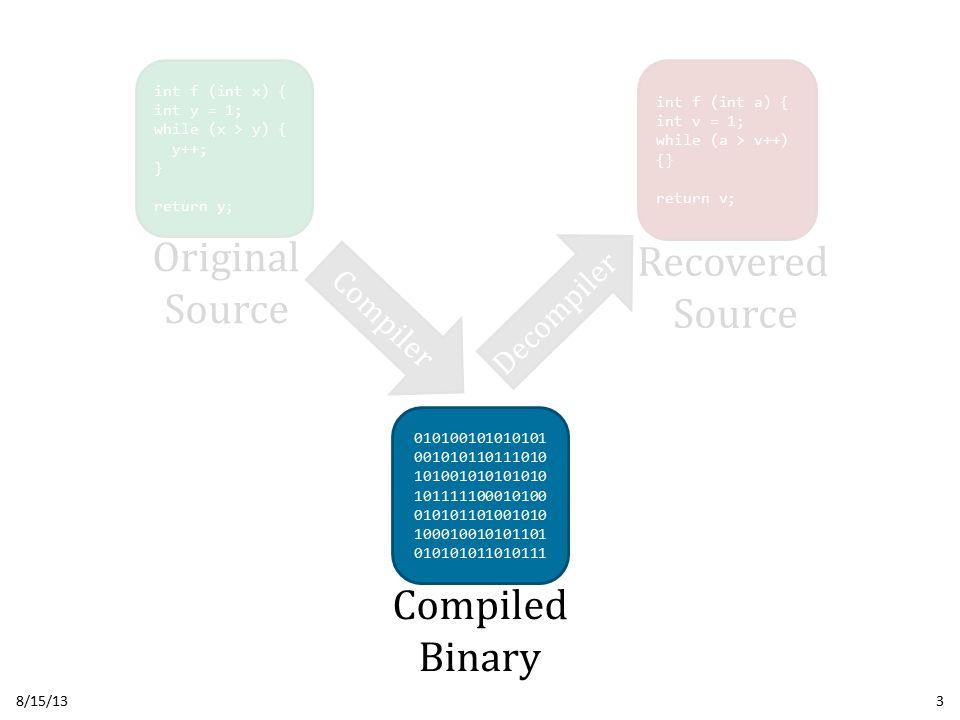 Unrecovered Structure 8/15/13Usenix Security 201324 This break edge prevents progress UNKNOWN SEQ s1; while (e1) { if (e2) { break; } s2; } s3; s1; L1: if (e1) { goto L2; } else { goto L4; } L2: if (e2) { goto L4; } L3: s2; goto L1; L4: s3; OriginalDecompiled Fix: New structuring algorithm featuring Iterative Refinement Fix: New structuring algorithm featuring Iterative Refinement