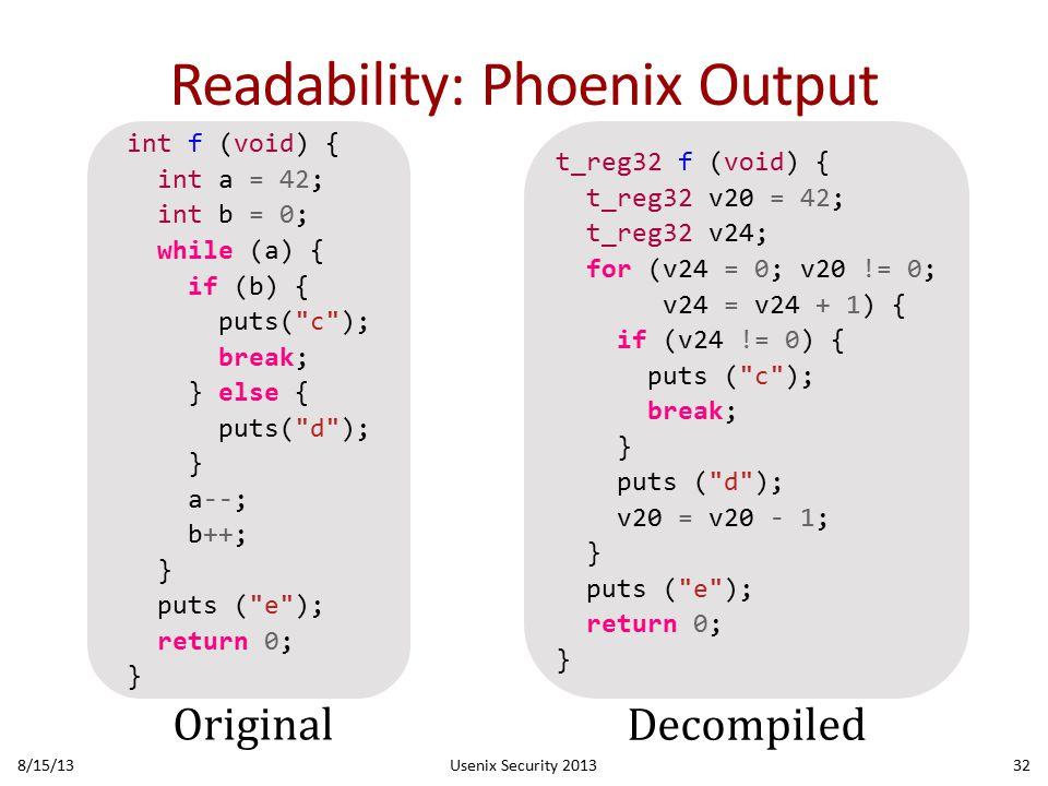 Readability: Phoenix Output 8/15/13Usenix Security 201332 int f (void) { int a = 42; int b = 0; while (a) { if (b) { puts( c ); break; } else { puts( d ); } a--; b++; } puts ( e ); return 0; } t_reg32 f (void) { t_reg32 v20 = 42; t_reg32 v24; for (v24 = 0; v20 != 0; v24 = v24 + 1) { if (v24 != 0) { puts ( c ); break; } puts ( d ); v20 = v20 - 1; } puts ( e ); return 0; } Original Decompiled