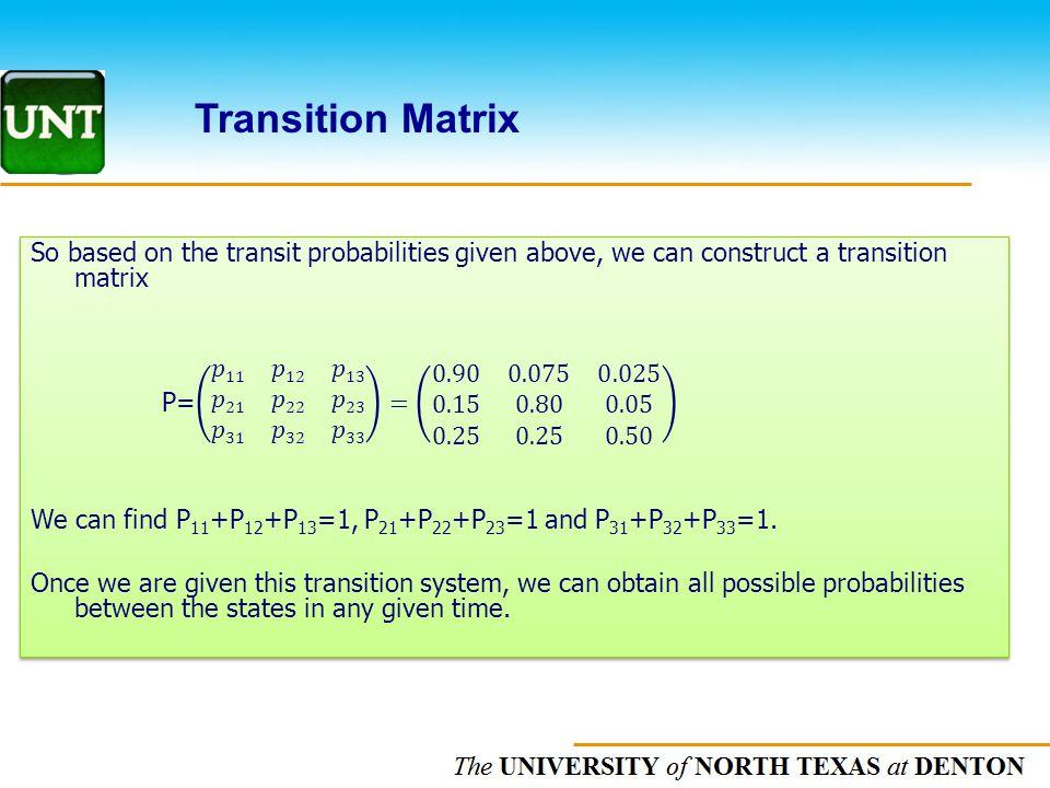 The UNIVERSITY of NORTH CAROLINA at CHAPEL HILL Transition Matrix