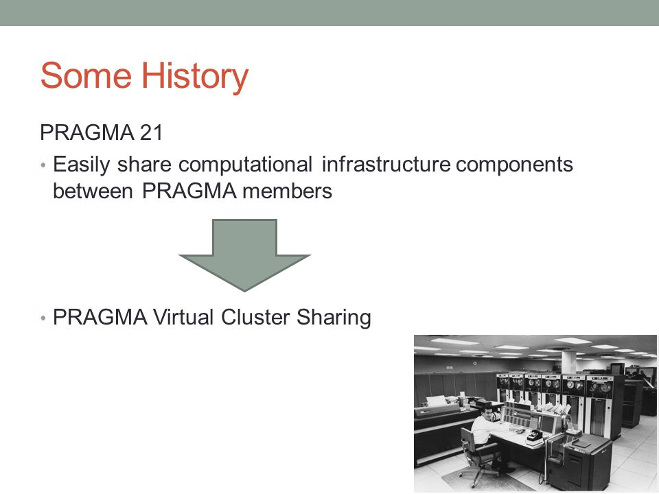 Some History PRAGMA 21 Easily share computational infrastructure components between PRAGMA members PRAGMA Virtual Cluster Sharing
