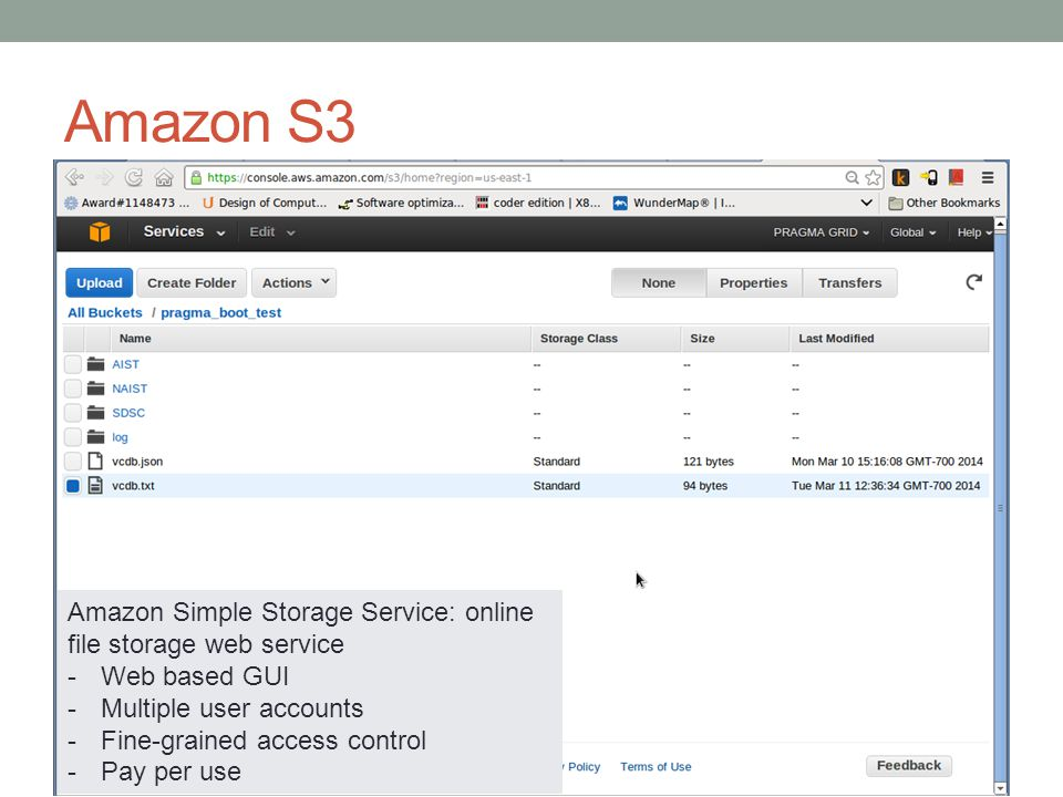 Amazon S3 Amazon Simple Storage Service: online file storage web service -Web based GUI -Multiple user accounts -Fine-grained access control -Pay per use