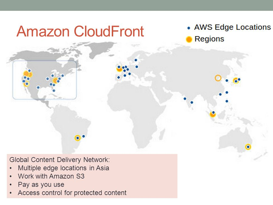 Amazon CloudFront Global Content Delivery Network: Multiple edge locations in Asia Work with Amazon S3 Pay as you use Access control for protected content