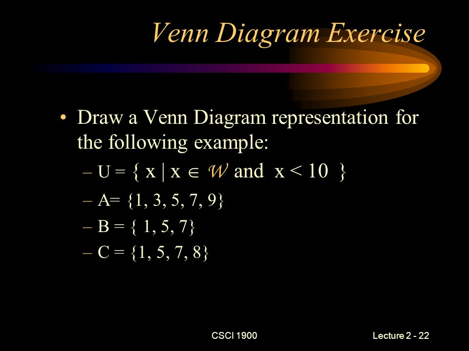 CSCI 1900 Lecture 2 - 22 Venn Diagram Exercise Draw a Venn Diagram representation for the following example: –U = { x | x  W and x < 10 } –A= {1, 3,