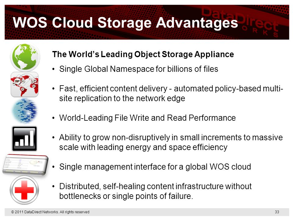 WOS Cloud Storage Advantages The World's Leading Object Storage Appliance Single Global Namespace for billions of files Fast, efficient content delive