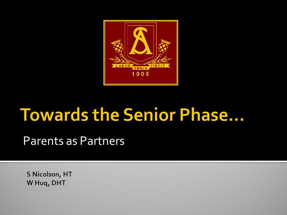 Parents as Partners S Nicolson, HT W Huq, DHT