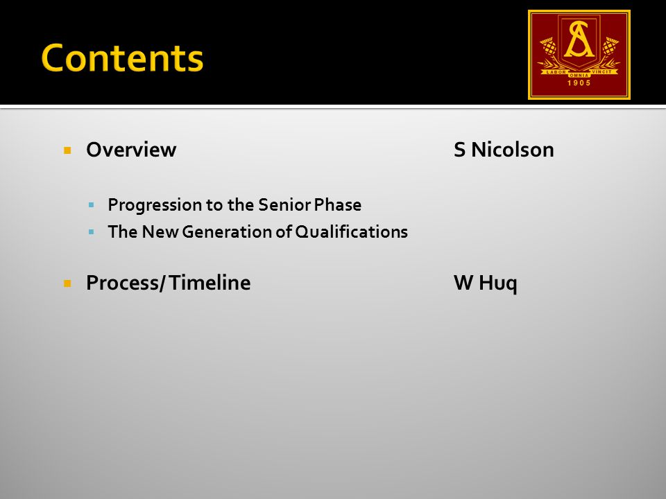  OverviewS Nicolson  Progression to the Senior Phase  The New Generation of Qualifications  Process/ TimelineW Huq