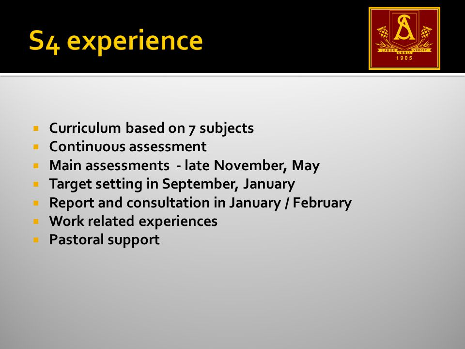  Curriculum based on 7 subjects  Continuous assessment  Main assessments - late November, May  Target setting in September, January  Report and consultation in January / February  Work related experiences  Pastoral support