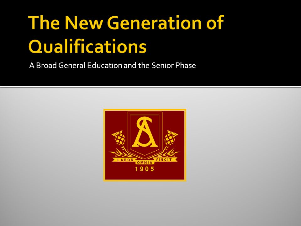 SCQF Previous generation of qualifications New generation of qualifications 12Doctorate 11Masters 10Honours Degree 9Ordinary Degree 8Higher National Diploma 7Advanced Higher 6Higher 5 SG Credit Intermediate 2 National 5 4 SG General Intermediate 1 National 4 3 SG Foundation Access 3 National 3 2Access 2National 2 1Access 1National 1