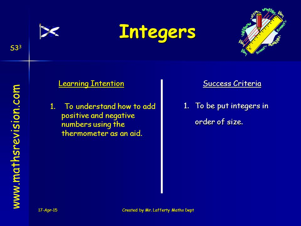17-Apr-15Created by Mr.Lafferty Maths Dept www.mathsrevision.com Learning Intention Success Criteria 2.Solving expressions showing working.