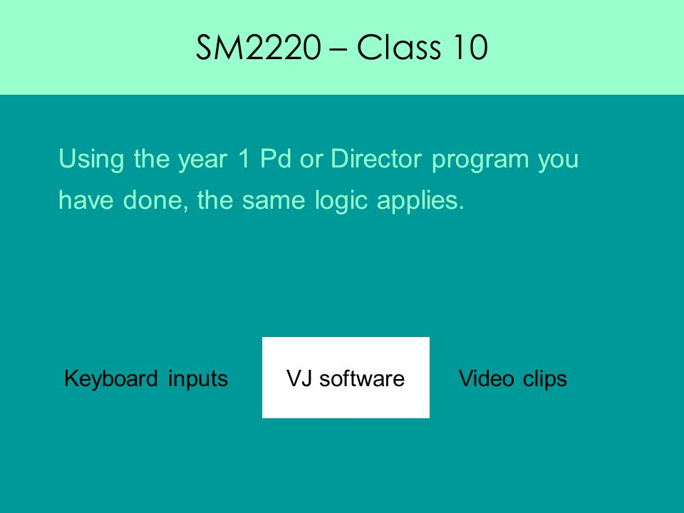SM2220 – Class 10 Using the year 1 Pd or Director program you have done, the same logic applies.
