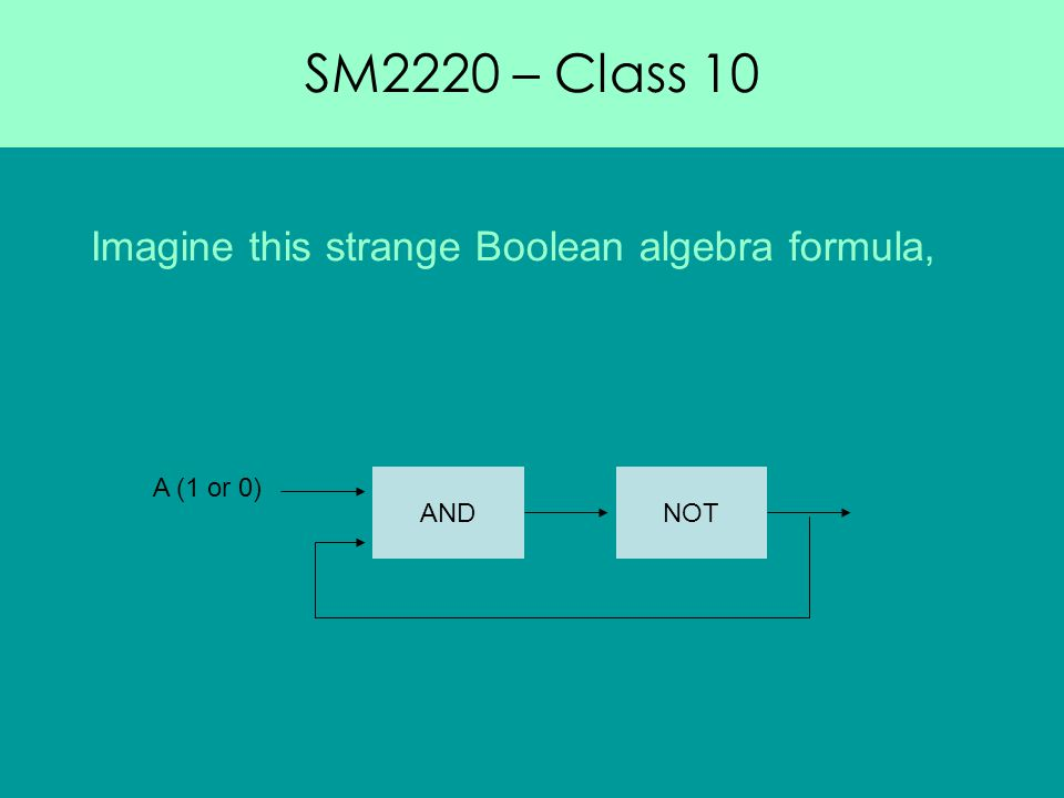 SM2220 – Class 10 Imagine this strange Boolean algebra formula, ANDNOT A (1 or 0)