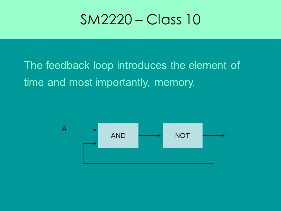 SM2220 – Class 10 The feedback loop introduces the element of time and most importantly, memory.