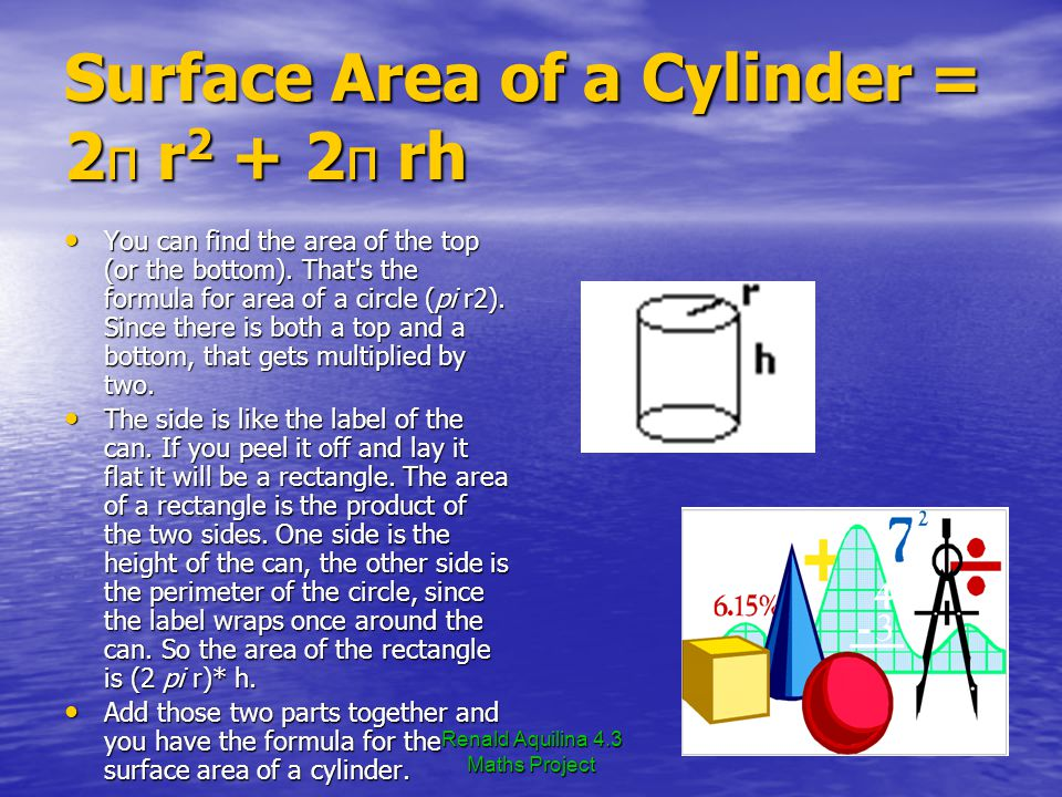 Renald Aquilina 4.3 Maths Project Surface Area of a Cylinder = 2π r2 + 2π rh You can find the area of the top (or the bottom).