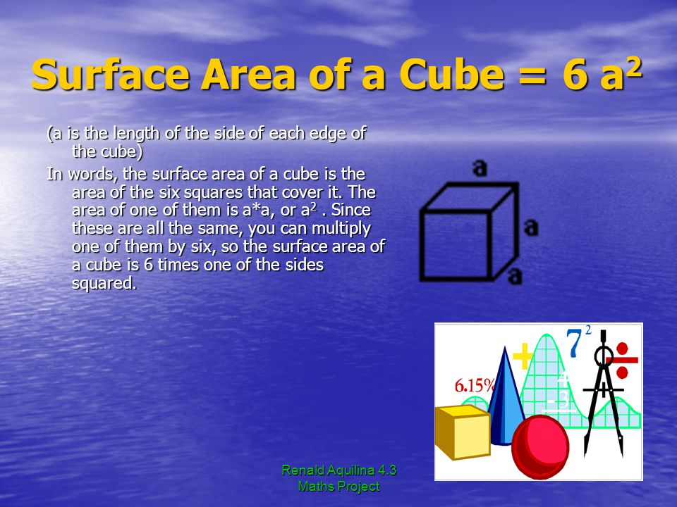 Renald Aquilina 4.3 Maths Project Surface Area of a Cube = 6 a2 (a is the length of the side of each edge of the cube) In words, the surface area of a cube is the area of the six squares that cover it.