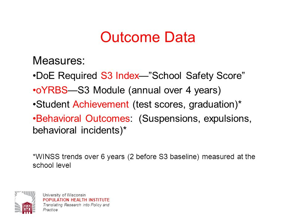 University of Wisconsin POPULATION HEALTH INSTITUTE Translating Research into Policy and Practice oYRBS Indices by Race/Ethnicity High school students perceptions on safe and supportive school environment, 9th and 11th graders in 2012 Wisconsin S3 schools NH WhiteNH Black p1p1 Hispanic p1p1 NH Native Am.
