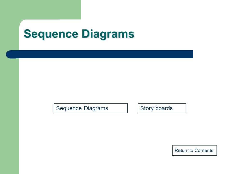 Sequence Diagrams Return to Contents Sequence DiagramsStory boards