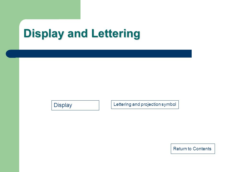 Display and Lettering Return to Contents Display Lettering and projection symbol