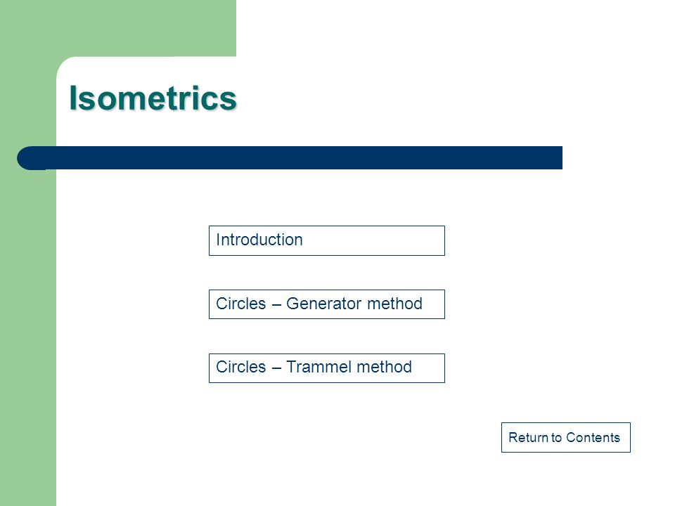 Isometrics Circles – Generator method Circles – Trammel method Introduction Return to Contents