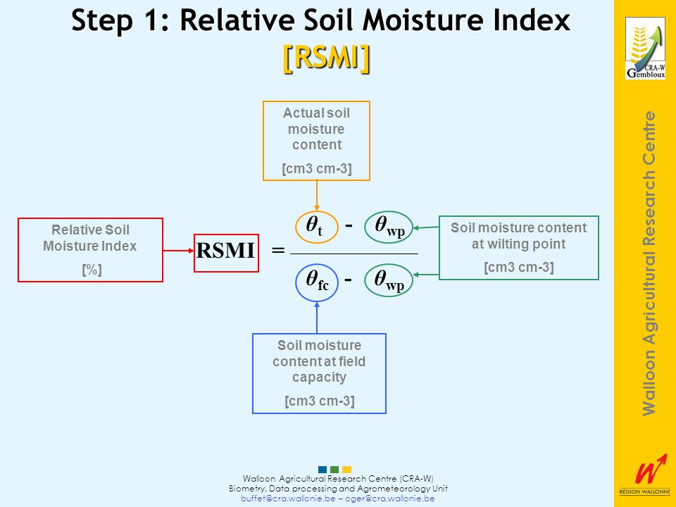 Walloon Agricultural Research Centre Walloon Agricultural Research Centre (CRA-W) Biometry, Data processing and Agrometeorology Unit buffet@cra.wallonie.be – oger@cra.wallonie.be Step 1: Relative Soil Moisture Index [RSMI] θ t - θ wp RSMI = θ fc - θ wp Actual soil moisture content [cm3 cm-3] Soil moisture content at wilting point [cm3 cm-3] Soil moisture content at field capacity [cm3 cm-3] Relative Soil Moisture Index [%]