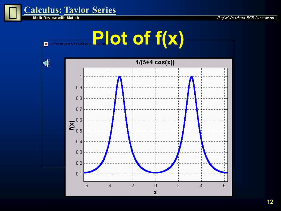 Calculus:Taylor Series 11 Plot f(x) The easiest way to generate a graph is to use ezplot ezplot leaves the axes unlabeled » syms x » f=1/(5+4*cos(x));