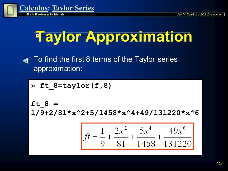 Calculus:Taylor Series 12 Plot of f(x)