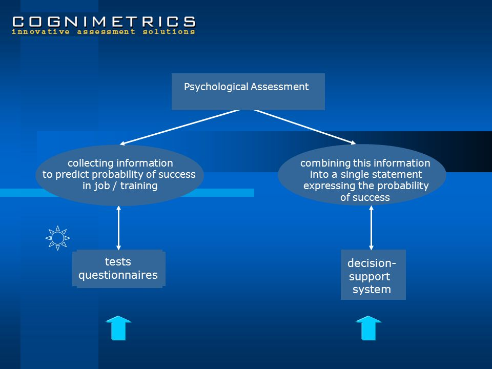 tests questionnaires collecting information to predict probability of success in job / training combining this information into a single statement expressing the probability of success decision- support system RISK ASSESSMENT PER INDIVIDUAL Psychological Assessment