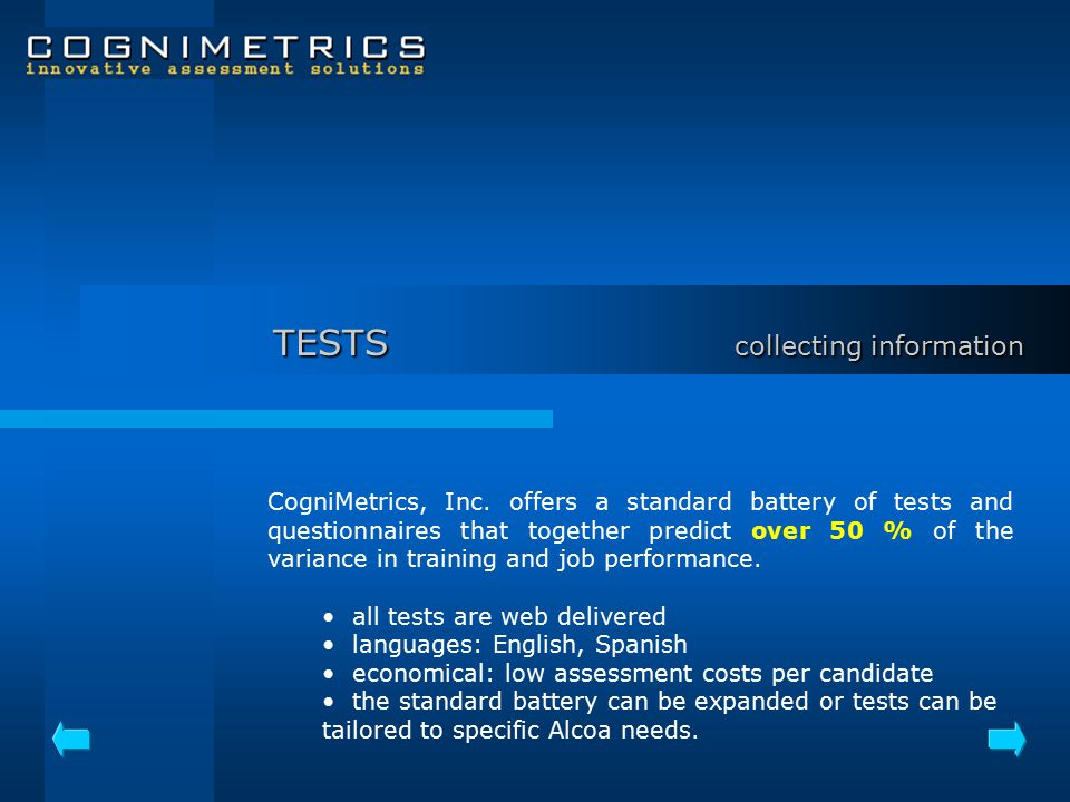 TESTS collecting information CogniMetrics, Inc.