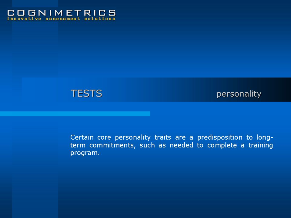 PC Inventory The Personality Characteristics Inventory evaluates candidates on five basic dimensions of personality: Conscientiousness Extraversion Agreeableness Openness Stability