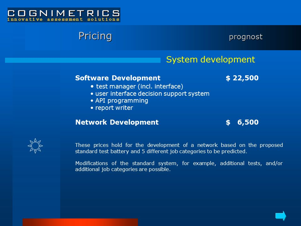 Pricing prognost Software Development$ 22,500 test manager (incl.
