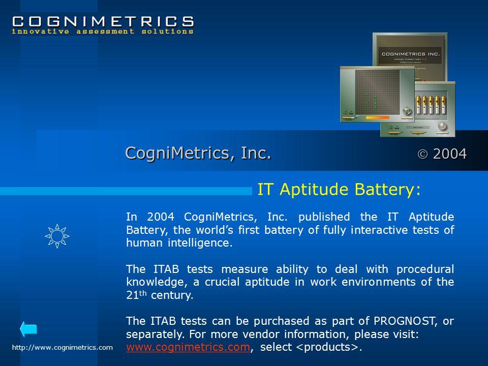CogniMetrics, Inc.  2004 IT Aptitude Battery: In 2004 CogniMetrics, Inc.