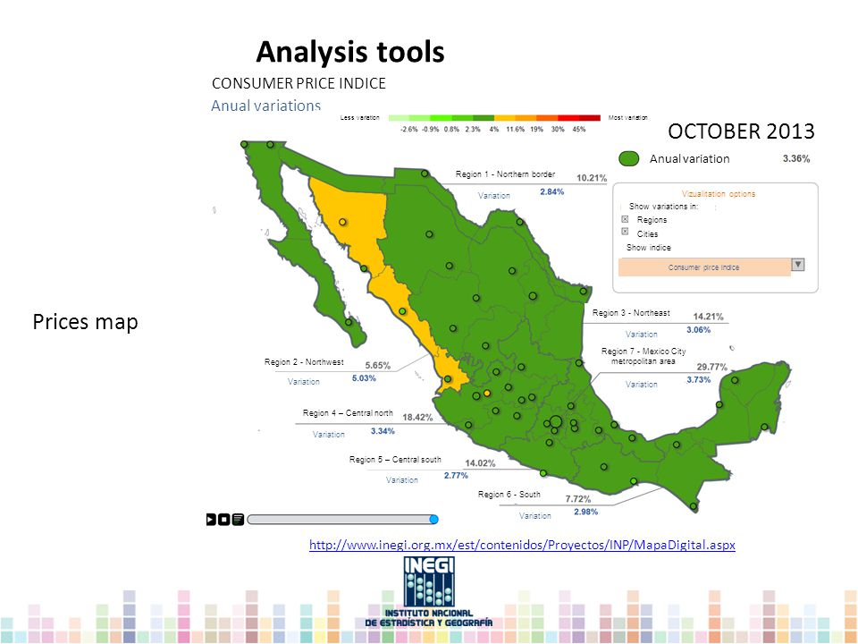 Analysis tools Prices map http://www.inegi.org.mx/est/contenidos/Proyectos/INP/MapaDigital.aspx CONSUMER PRICE INDICE Anual variations Less variation Most variation OCTOBER 2013 Anual variation Region 1 - Northern border Variation Vizualitation options Show variations in: Regions Cities Show indice Consumer pirce indice Region 3 - Northeast Variation Region 7 - Mexico City metropolitan area Variation Region 6 - South Variation Region 5 – Central south Region 4 – Central north Region 2 - Northwest