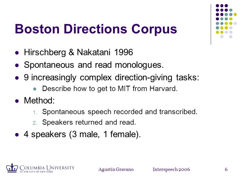 Agustín Gravano Interspeech 20066 Boston Directions Corpus Hirschberg & Nakatani 1996 Spontaneous and read monologues.
