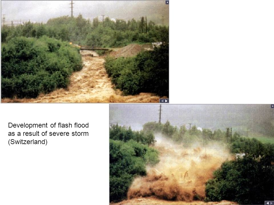 Development of flash flood as a result of severe storm (Switzerland)