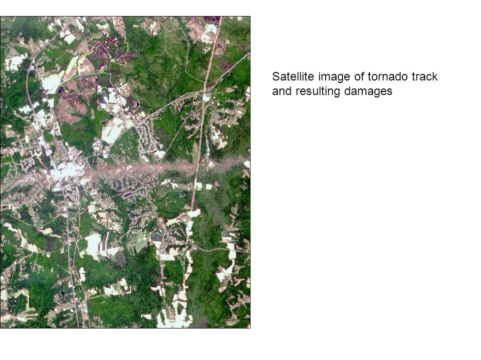 Satellite image of tornado track and resulting damages