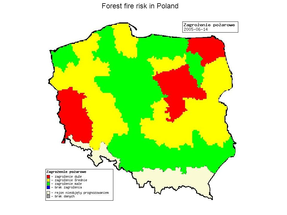 Forest fire risk in Poland