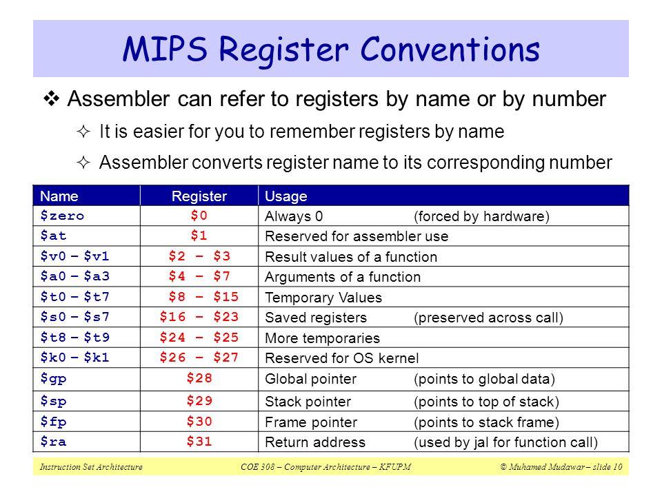 Instruction Set ArchitectureCOE 308 – Computer Architecture – KFUPM© Muhamed Mudawar – slide 10 MIPS Register Conventions NameRegisterUsage $zero$0 Al