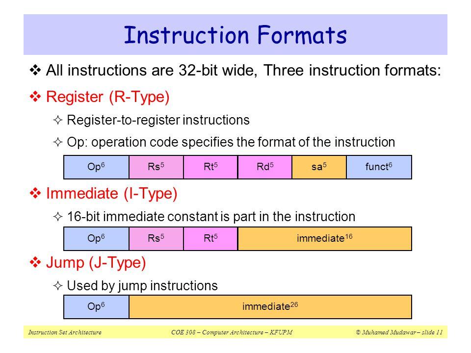 Instruction Set ArchitectureCOE 308 – Computer Architecture – KFUPM© Muhamed Mudawar – slide 11 Instruction Formats  All instructions are 32-bit wide