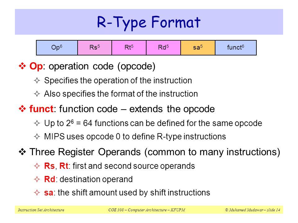 Instruction Set ArchitectureCOE 308 – Computer Architecture – KFUPM© Muhamed Mudawar – slide 14 R-Type Format  Op: operation code (opcode)  Specifie