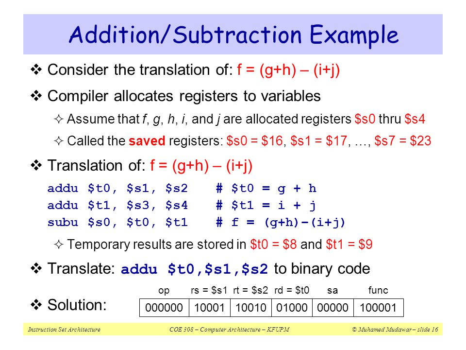 Instruction Set ArchitectureCOE 308 – Computer Architecture – KFUPM© Muhamed Mudawar – slide 16 Addition/Subtraction Example  Consider the translatio
