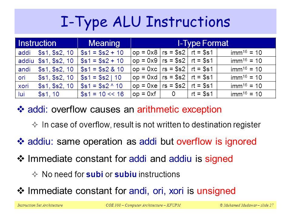 Instruction Set ArchitectureCOE 308 – Computer Architecture – KFUPM© Muhamed Mudawar – slide 27 I-Type ALU Instructions InstructionMeaningI-Type Forma