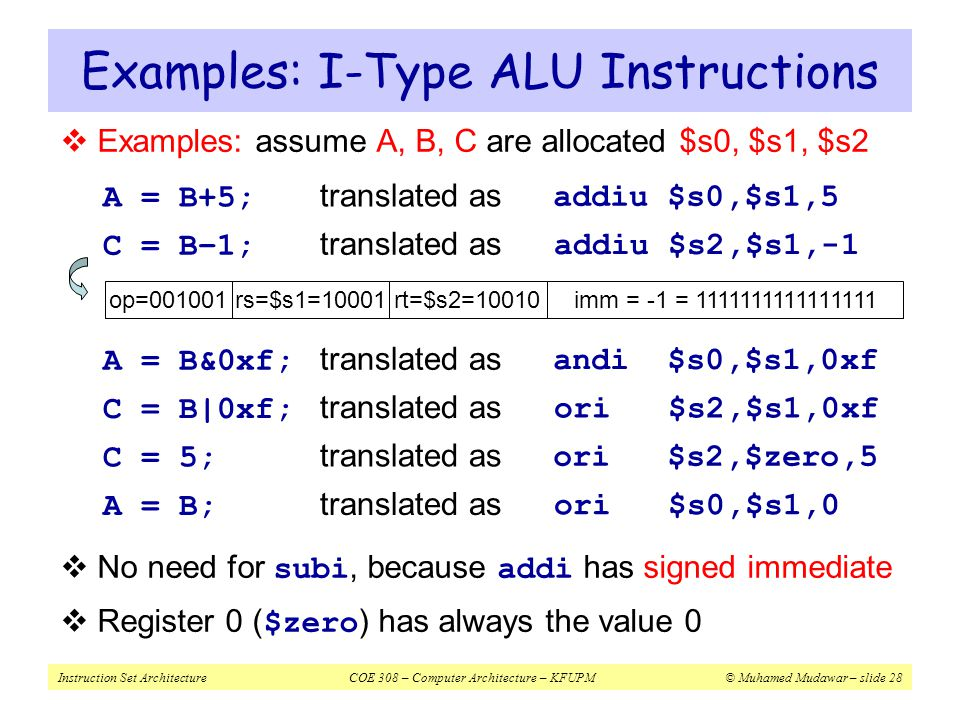 Instruction Set ArchitectureCOE 308 – Computer Architecture – KFUPM© Muhamed Mudawar – slide 28  Examples: assume A, B, C are allocated $s0, $s1, $s2