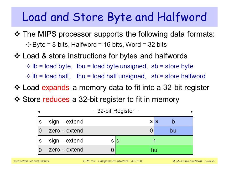 Instruction Set ArchitectureCOE 308 – Computer Architecture – KFUPM© Muhamed Mudawar – slide 47 00 s ss ss 00 s bu b h hu sign – extend zero – extend