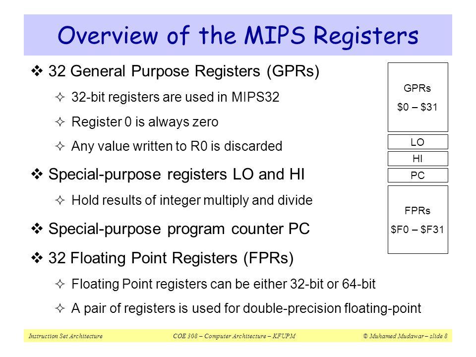 Instruction Set ArchitectureCOE 308 – Computer Architecture – KFUPM© Muhamed Mudawar – slide 8  32 General Purpose Registers (GPRs)  32-bit register