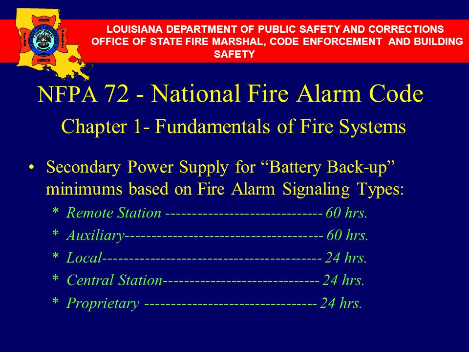 """NFPA 72 - National Fire Alarm Code Chapter 1- Fundamentals of Fire Systems Secondary Power Supply for """"Battery Back-up"""" minimums based on Fire Alarm S"""