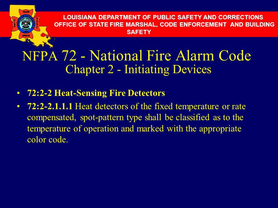 NFPA 72 - National Fire Alarm Code Chapter 2 - Initiating Devices 72:2-2 Heat-Sensing Fire Detectors 72:2-2.1.1.1 Heat detectors of the fixed temperat